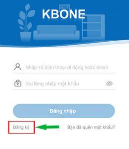 Tạo tài khoản mới trên ứng dụng kbone