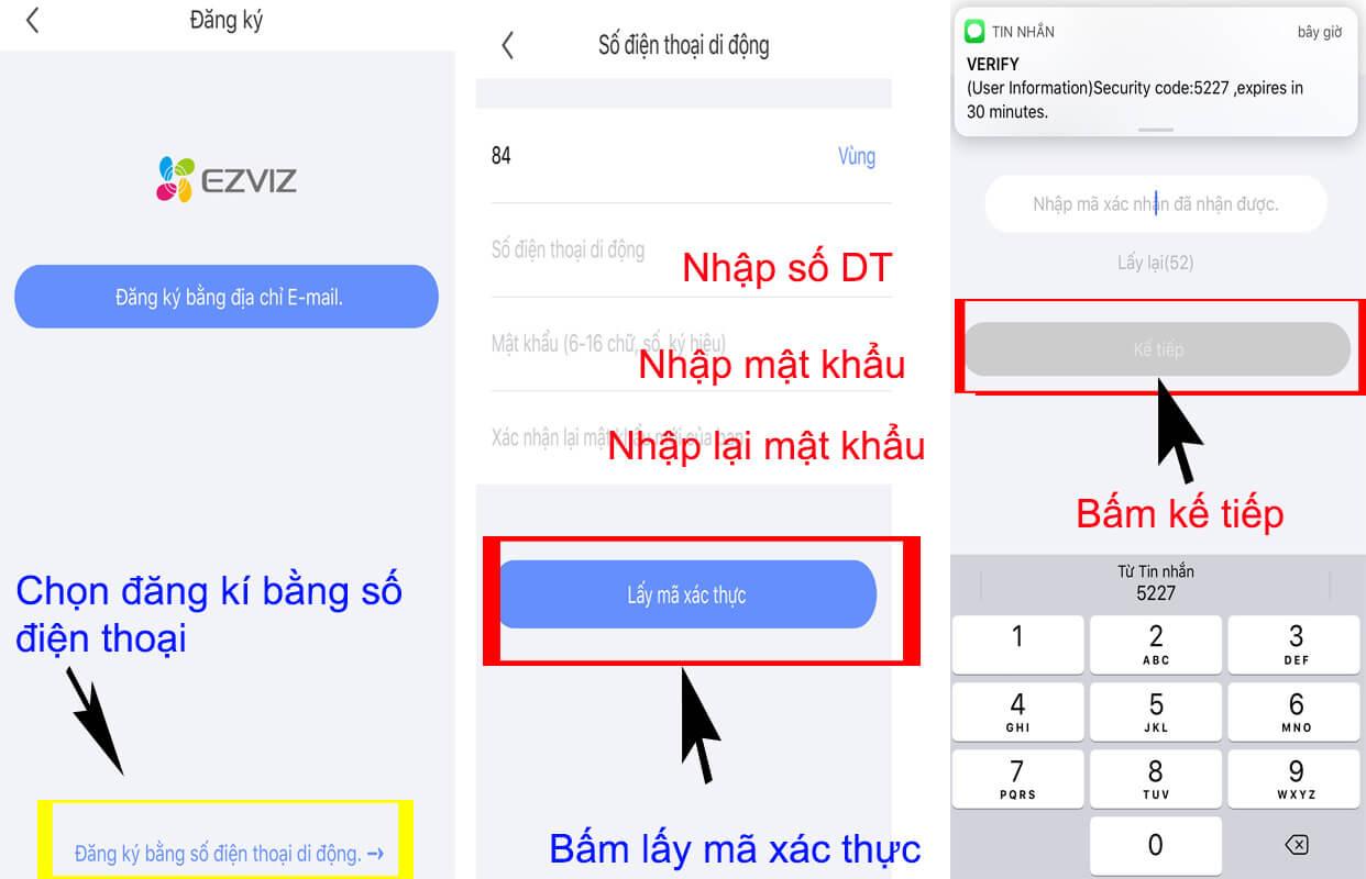 Nhập số điện thoại và nhận mã xác thực