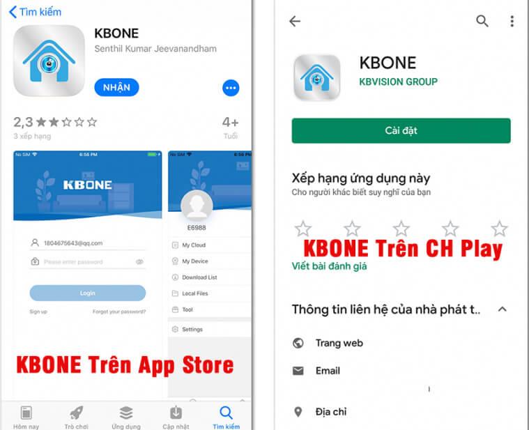 Truy cập vào ứng dụng tải phần mềm kbone về máy